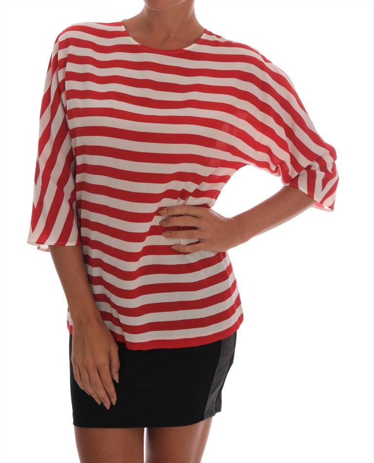 Dolce & Gabbana Women's Striped Silk Top Red TSH1434 - IT36 | XS