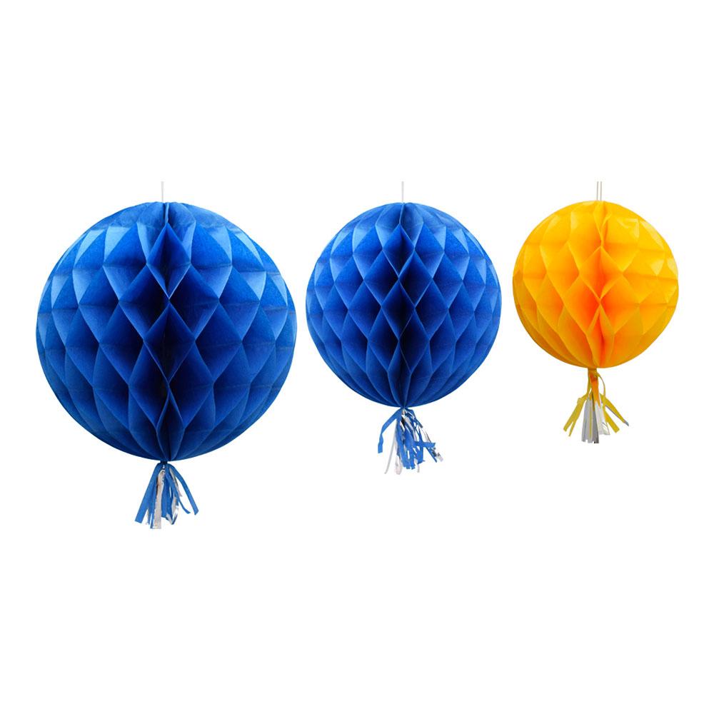 Honeycomb Tassel Blå/Gul Hängande Dekoration - 3-pack