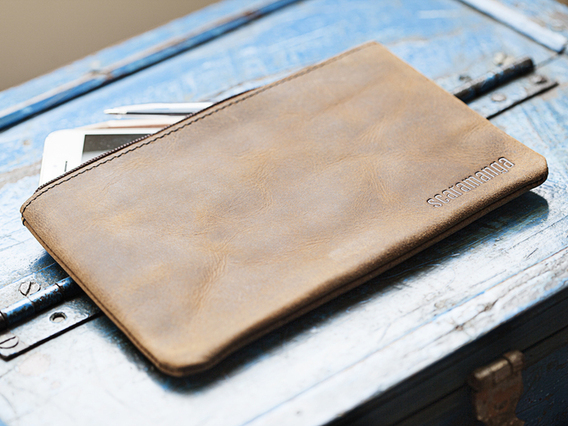 Large Leather Pencil Case Brown Large
