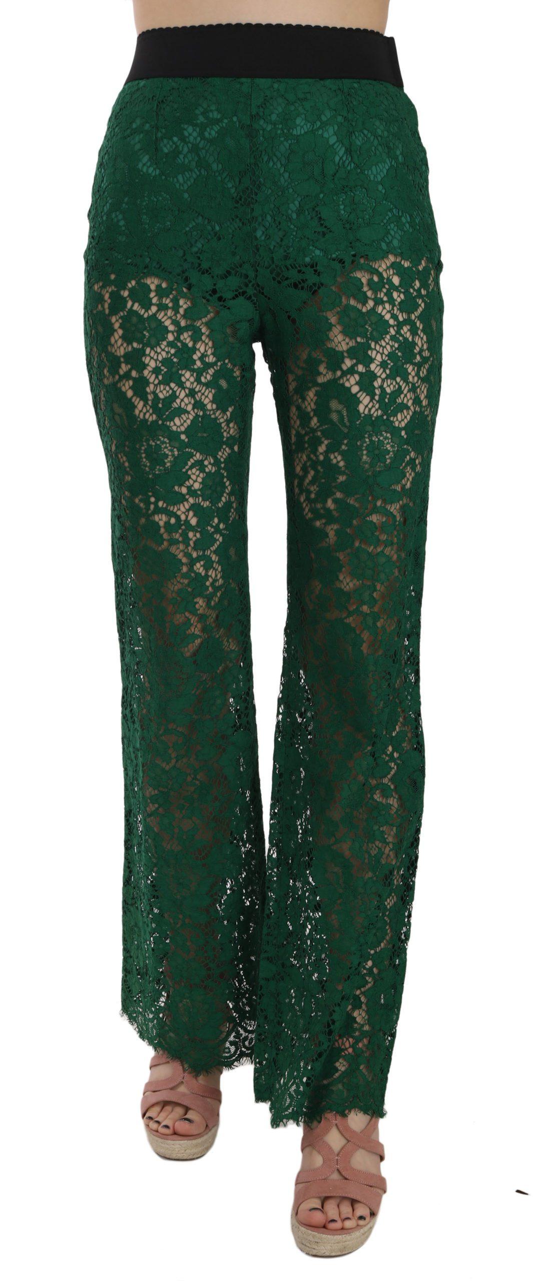 Dolce & Gabbana Women's Floral Lace Green Palazzo Trouser Green PAN70030 - IT38|XS