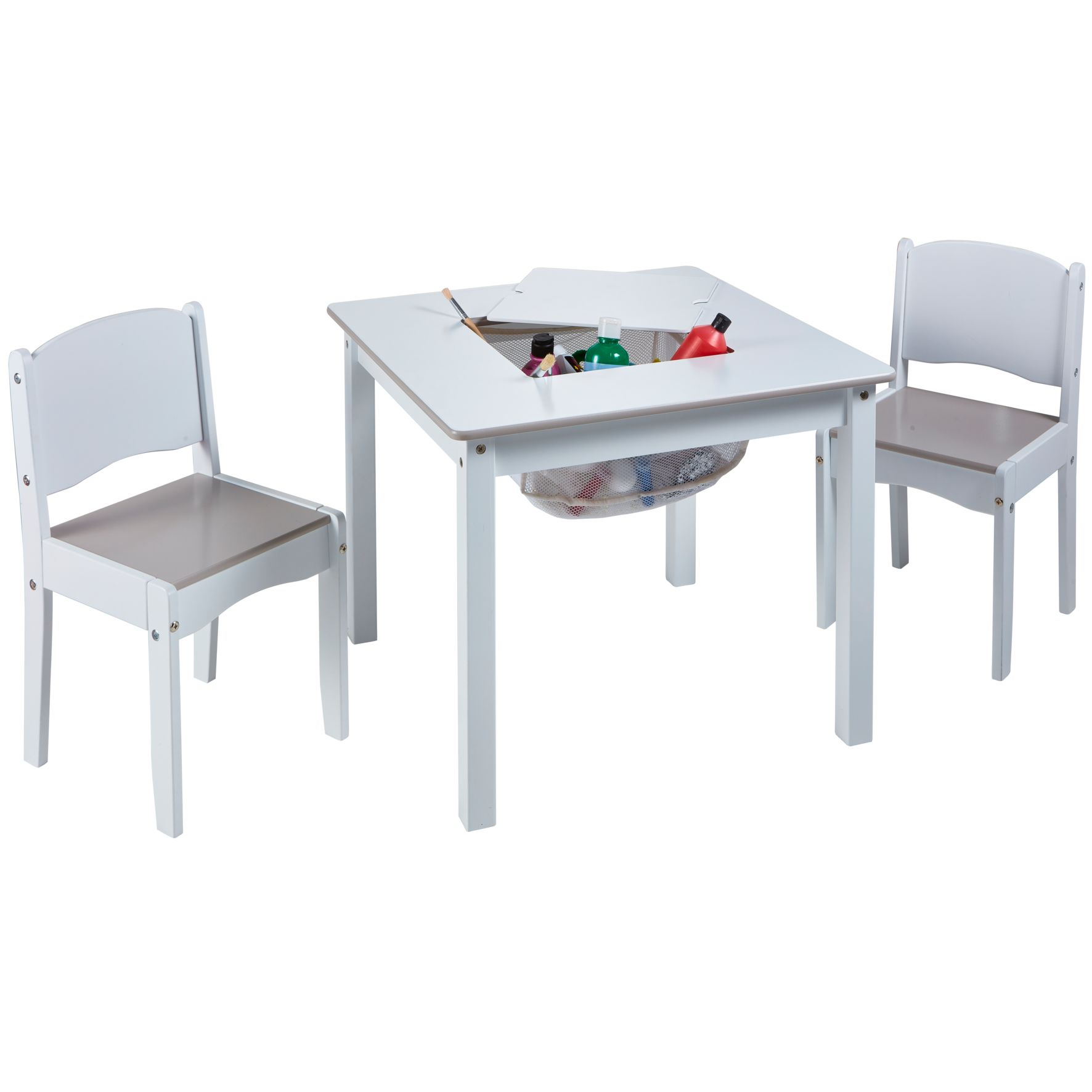 Kids White Craft Table and 2 Chairs Set (528GWH01E)