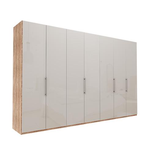 Garderobe Atlanta - Lys rustikk eik 350 cm, 236 cm, Uten gesims / ramme