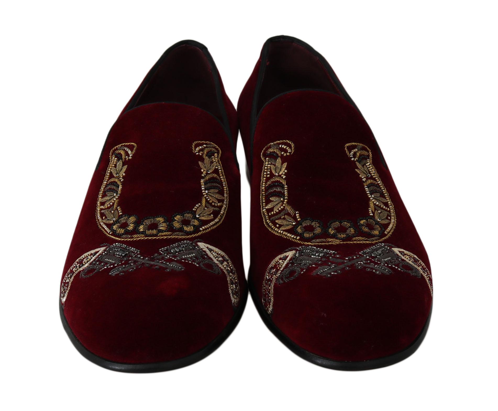 Dolce & Gabbana Men's Velvet Gun Loafers Shoes Bordeaux MV2192 - EU43/US10