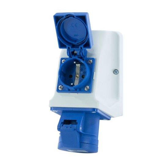 Garo UI 316-9 S+ RU/UIFP Seinäpistorasia IP44, 4-napainen, 16A Sukopistorasia, sininen, 9 h