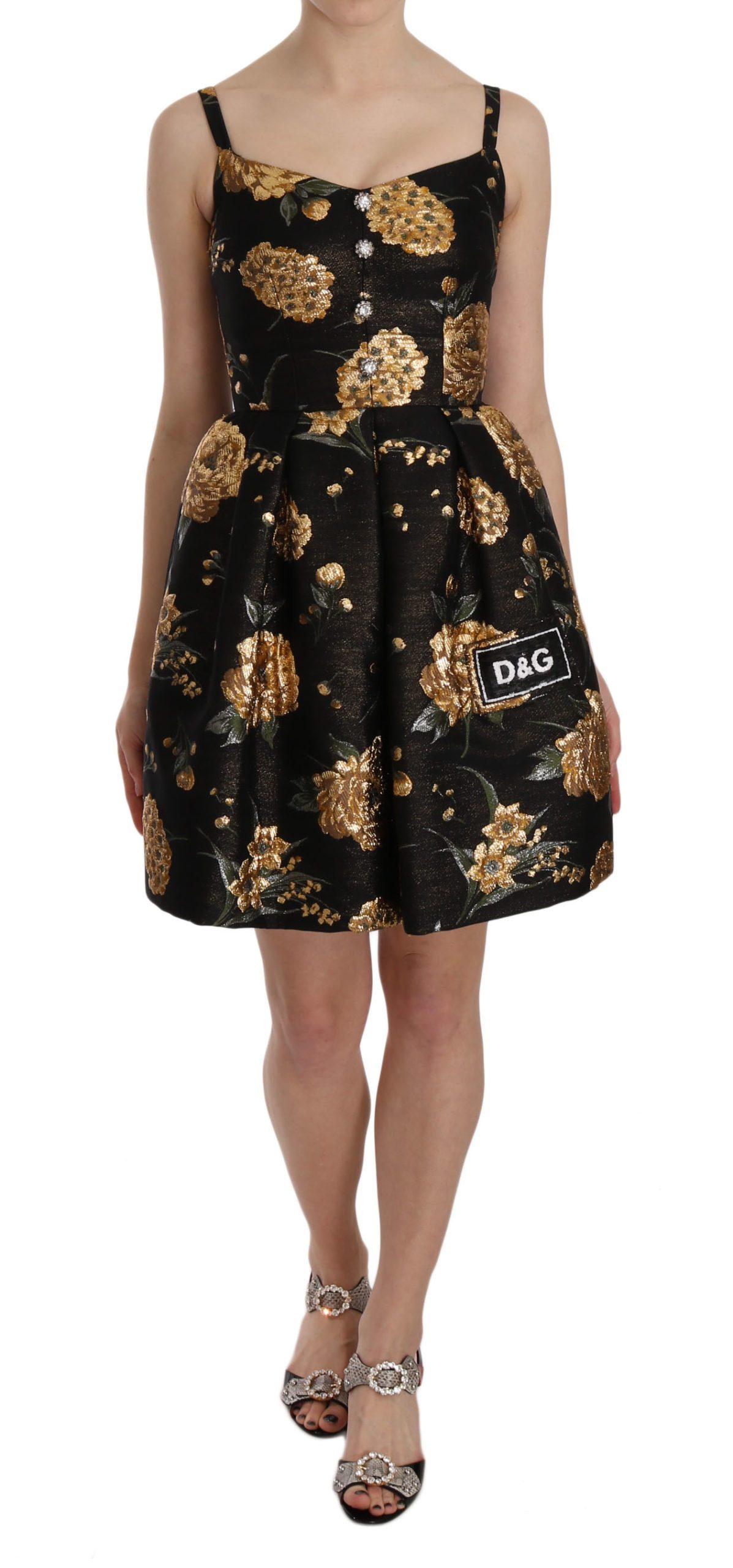 Dolce & Gabbana Women's Metallic Jacquard Crystal Dress Black DR1636 - IT40|S