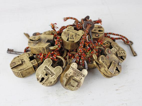 Mini Old Brass Padlock Natural