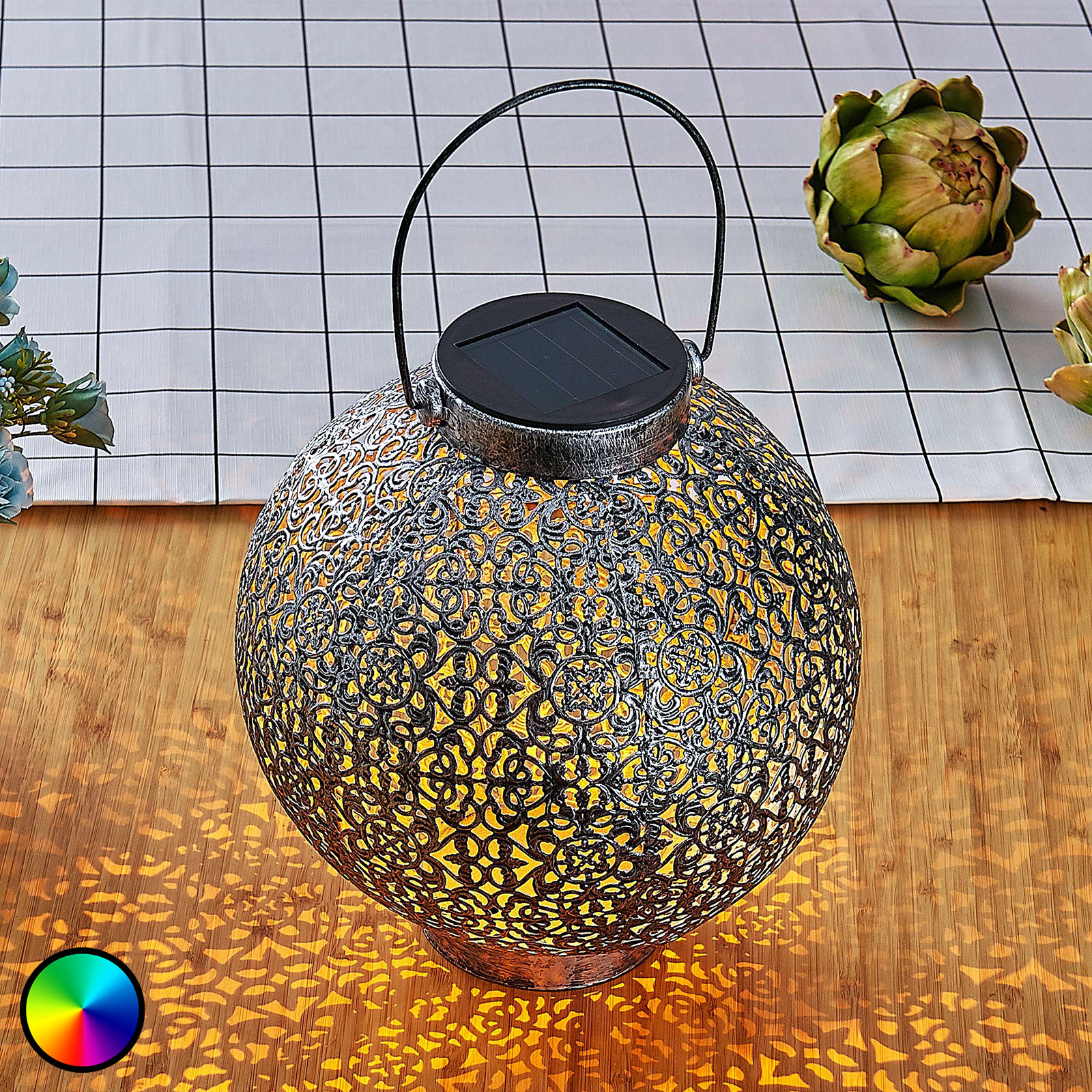 Aurinkok. LED-RGB-lyhty Dunjaris ornamentti kupari