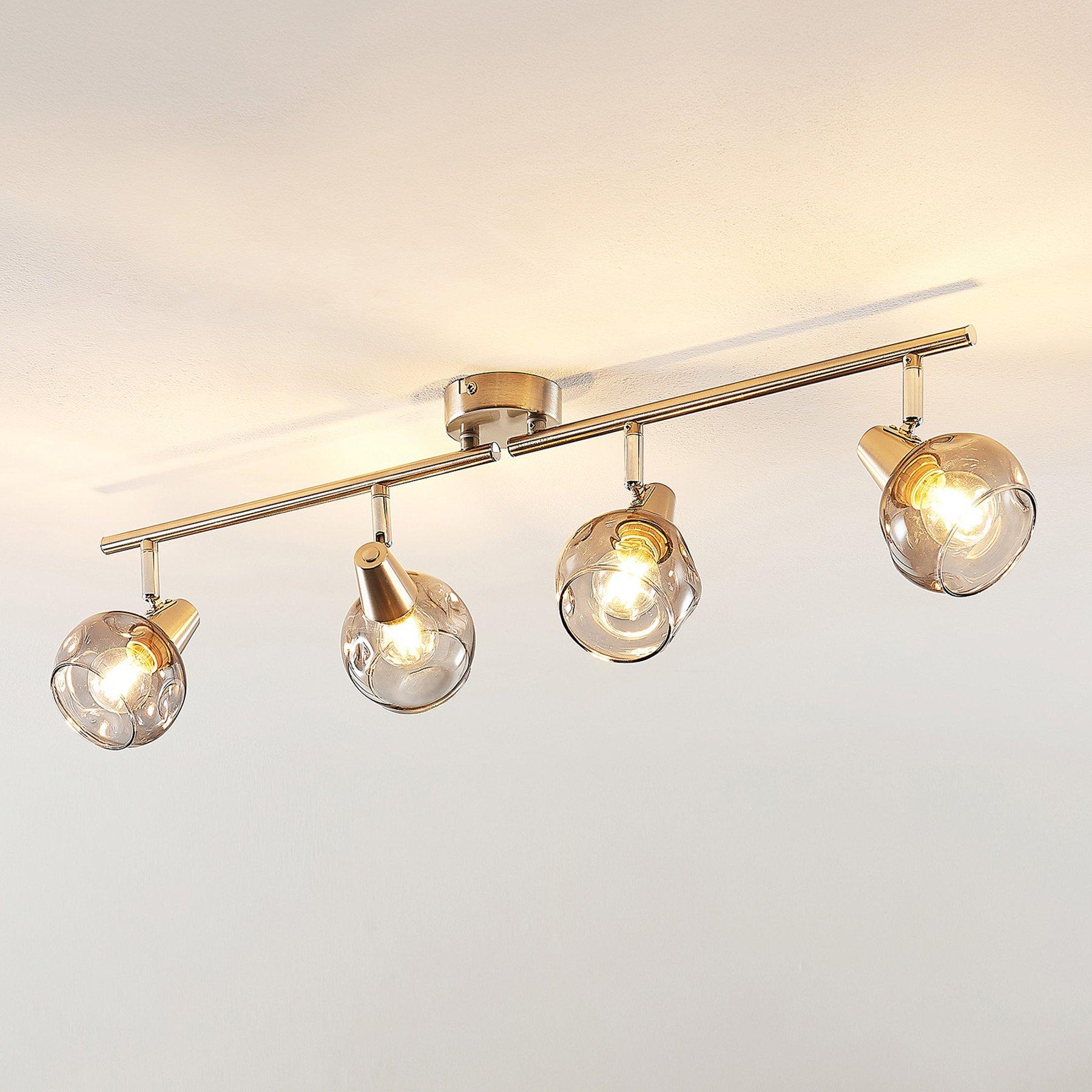 Lindby Almina taklampe, røykglass, 4 lyskilder