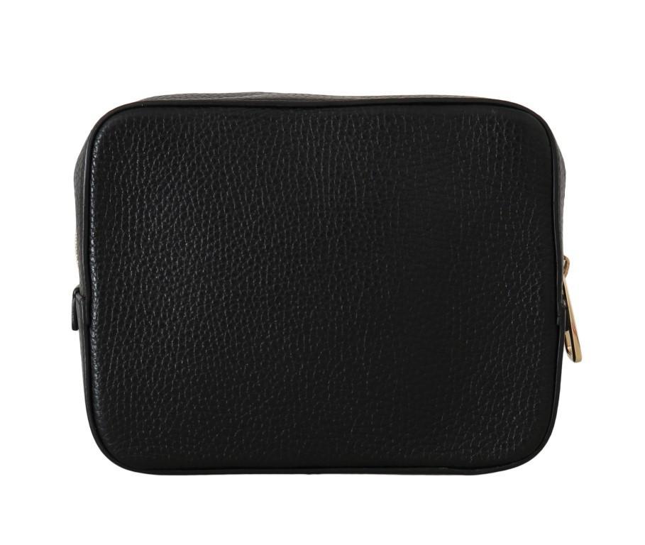 Dolce & Gabbana Women's Leather Clutch Zipper Handbag Black VAS1599