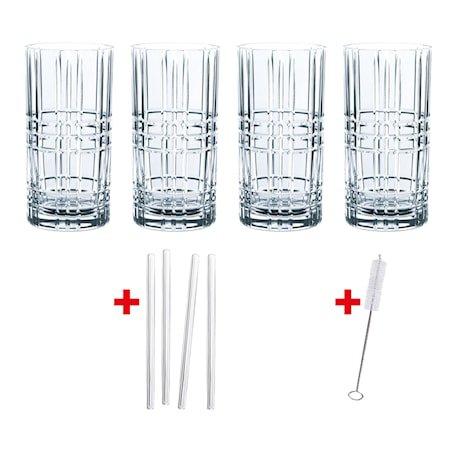Feel Good Longdrinkglass 44,5 cl 4-pakning + Sugerør