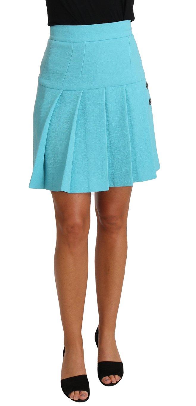 Dolce & Gabbana Women's Crystal Wool A-line Pleated Skirt Light Blue SKI1143 - IT36 | XS