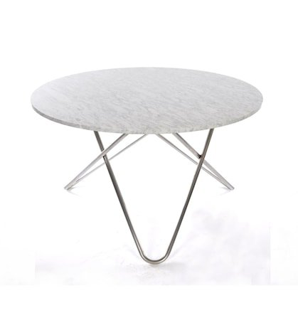 Big O table spisebord - Carrara/stainless
