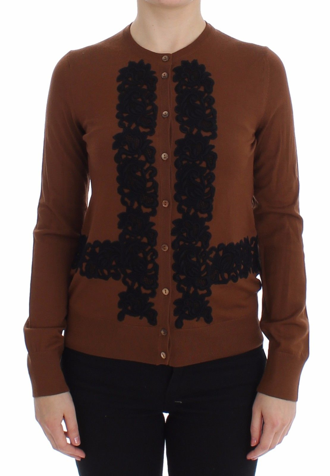 Dolce & Gabbana Women's Wool Lace Cardigan Brown SIG13277 - IT40|S