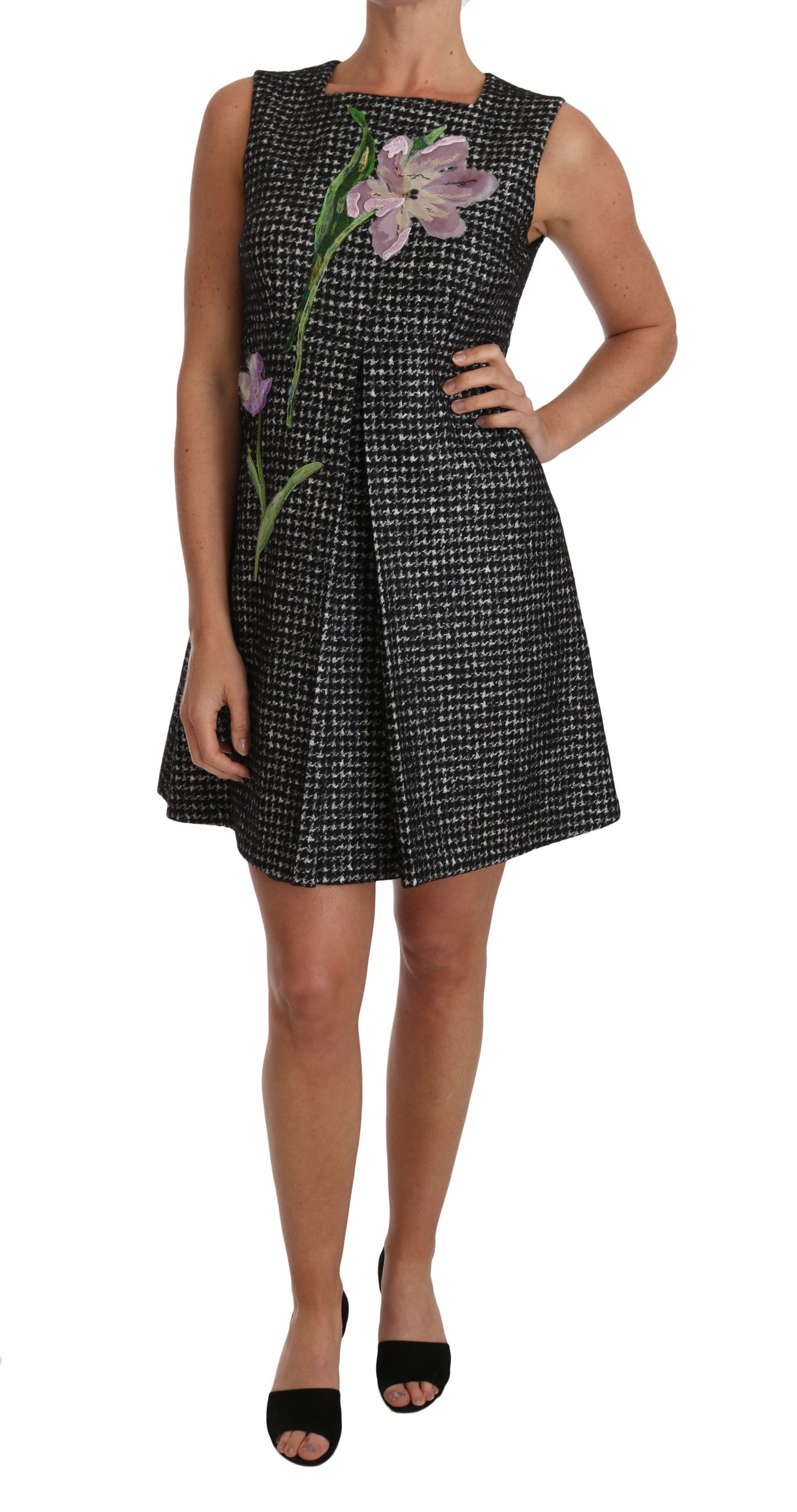 Dolce & Gabbana Women's Tulip Embroidered A-Line Shift Dress Gray DR1491 - IT42|M