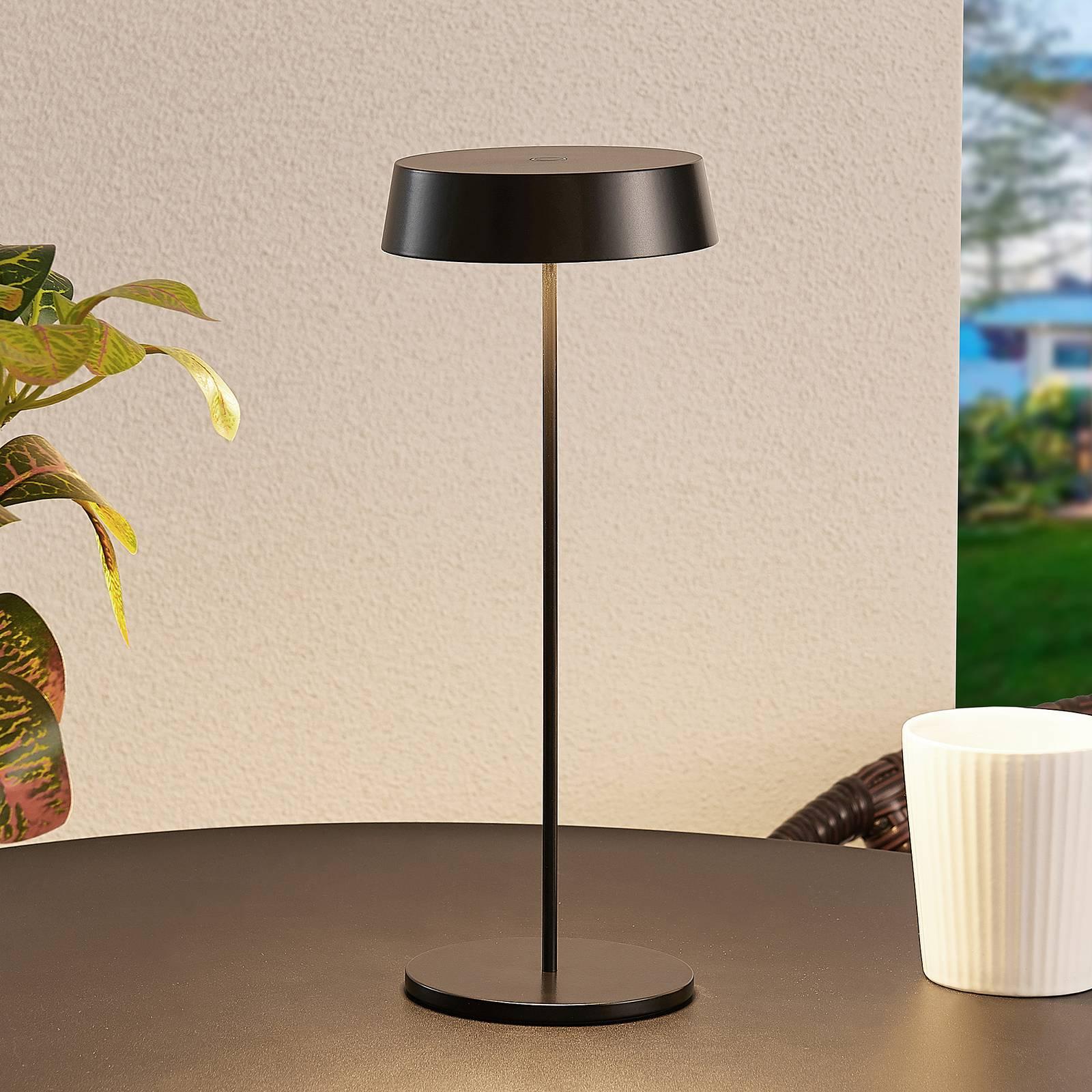 Lucande Tibia -LED-pöytälamppu, USB, musta