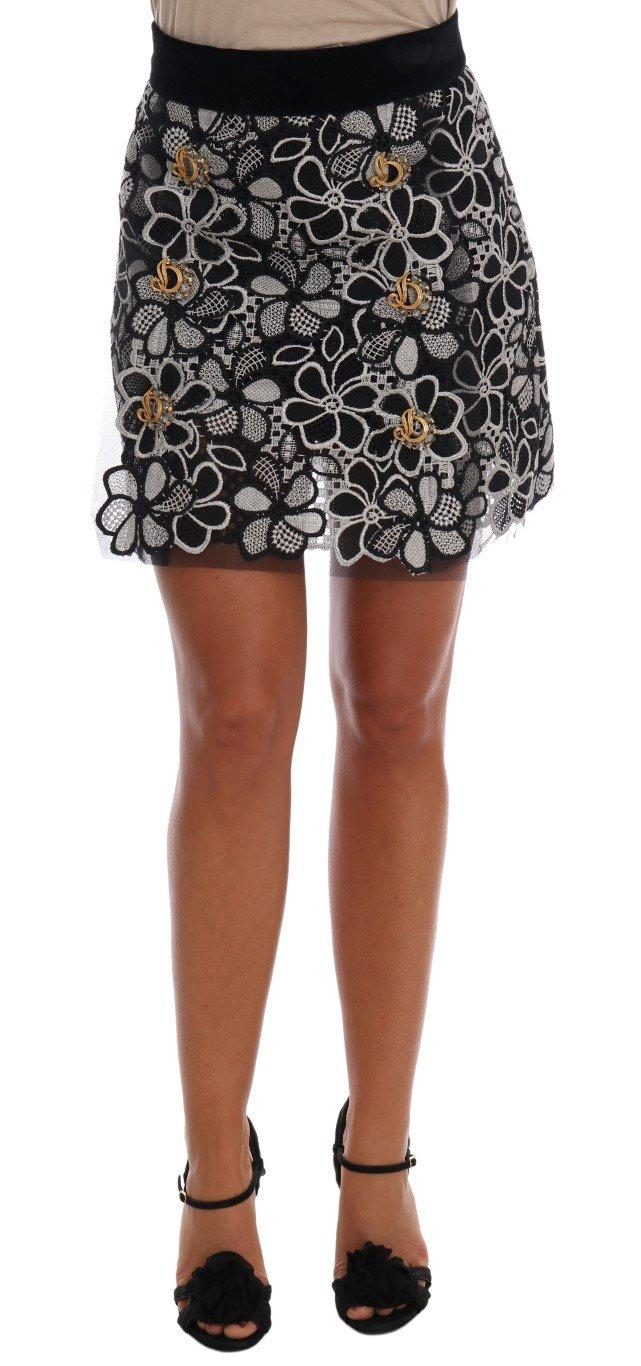 Dolce & Gabbana Women's Floral Macramé Lace Crystal Skirt Multicolor SKI1049 - IT40|S