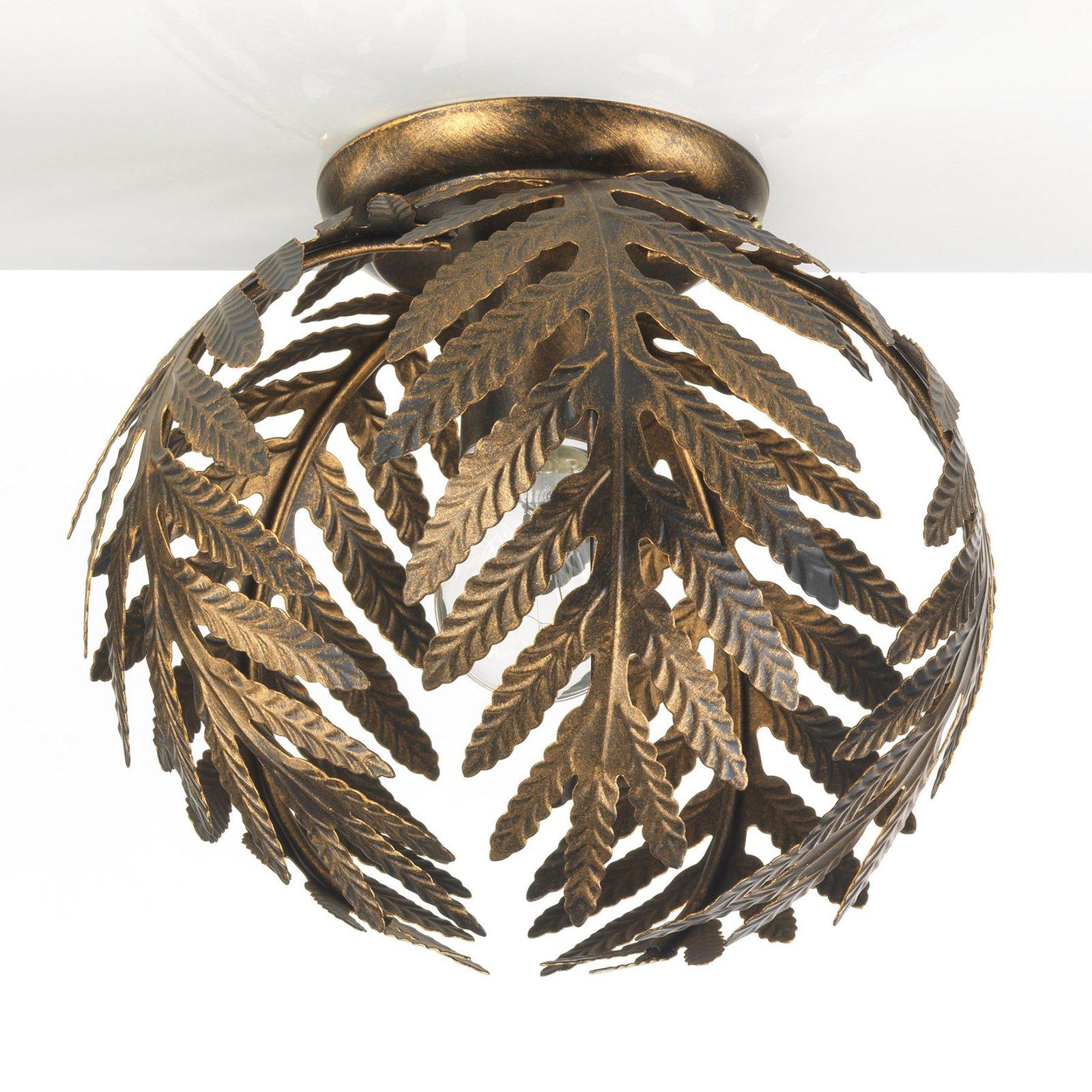 Taklampe Felce som bregne i bronse, Ø 27 cm