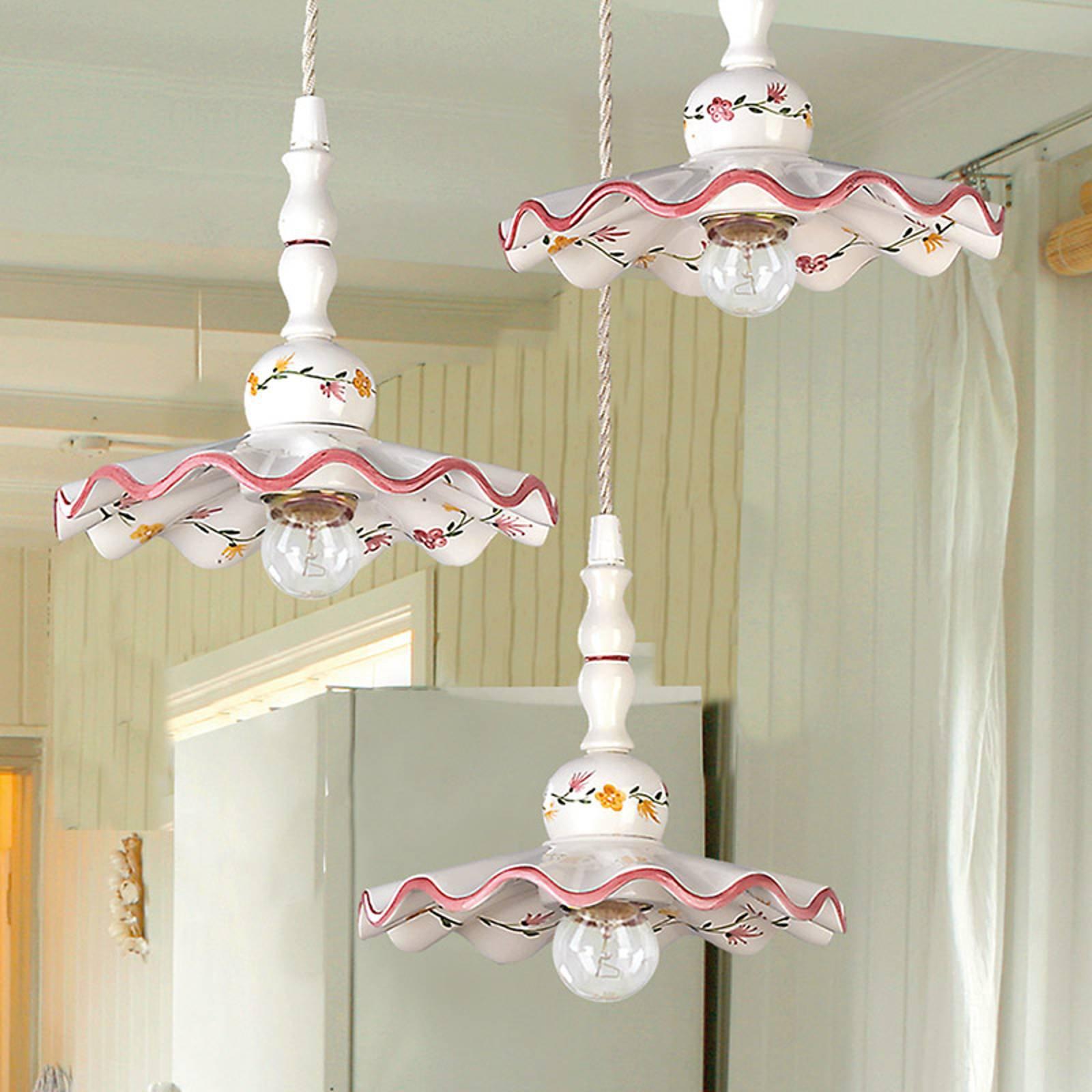 Keramisk hengelampe Ametista i rustikk stil, 3 lys