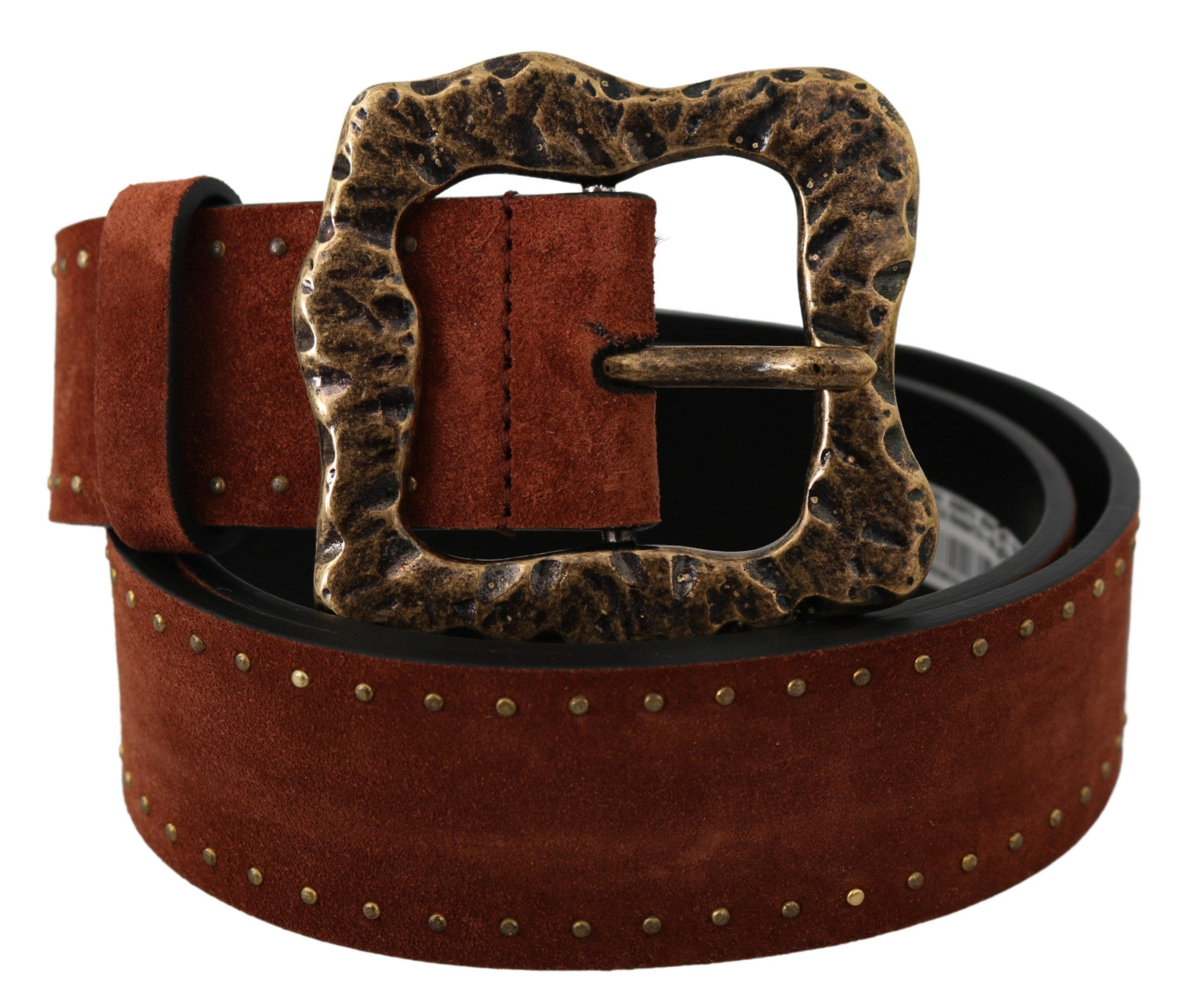 Brown Suede Leather Studded Baroque Belt - 90 cm / 36 Inches