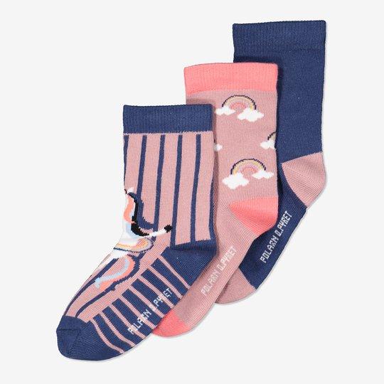 3-pakning sokker rosa