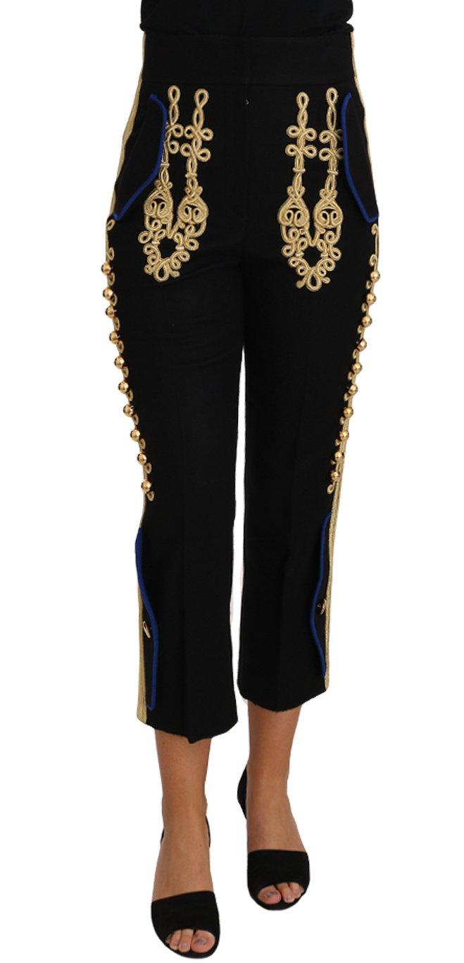 Dolce & Gabbana Women's Military Embellished Trouser Black PAN61081 - IT48   XL
