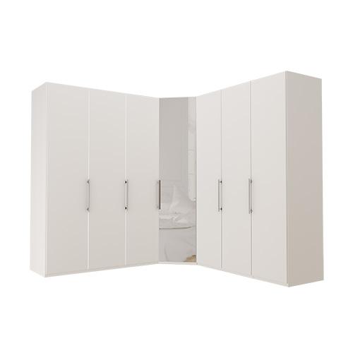 Garderobe Atlanta - Hvit 150 + hjørne + 150, 216 cm, Hvit
