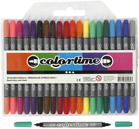 Colortime Dobbeltusj Standardfarger 20 stk