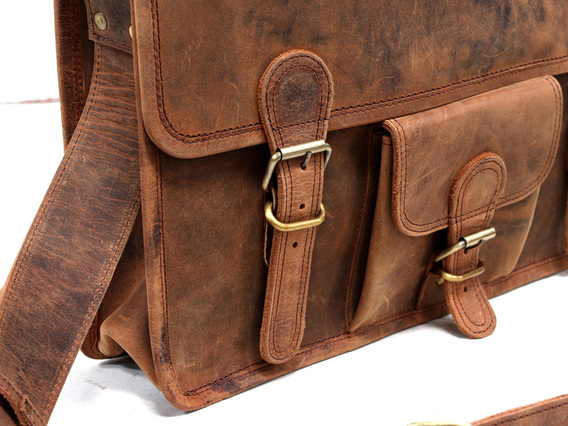 Medium Vintage Leather Satchel Front Pocket 15 Inch Brown 15 Inch