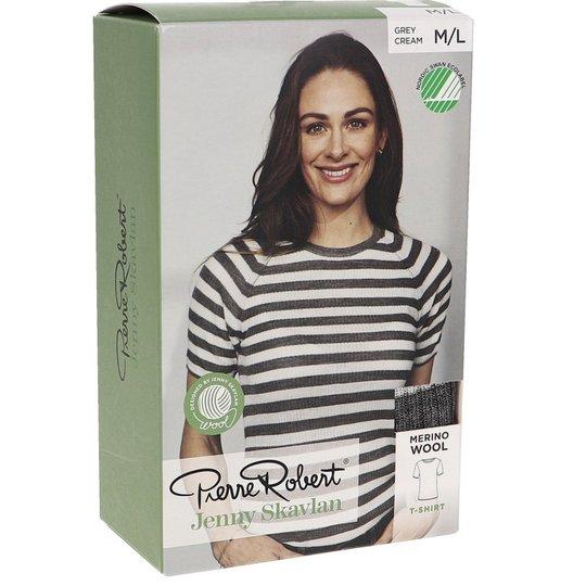 T-Shirt Merinoull Grey Stripe Stl M/L - 80% rabatt