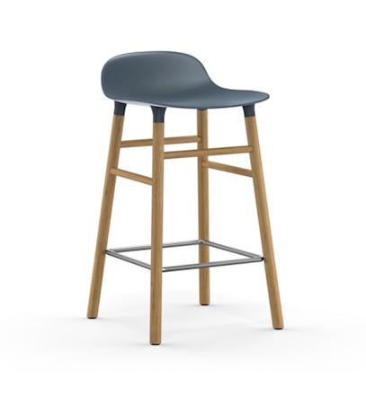 Form Barstol Blå/Eik 65 cm