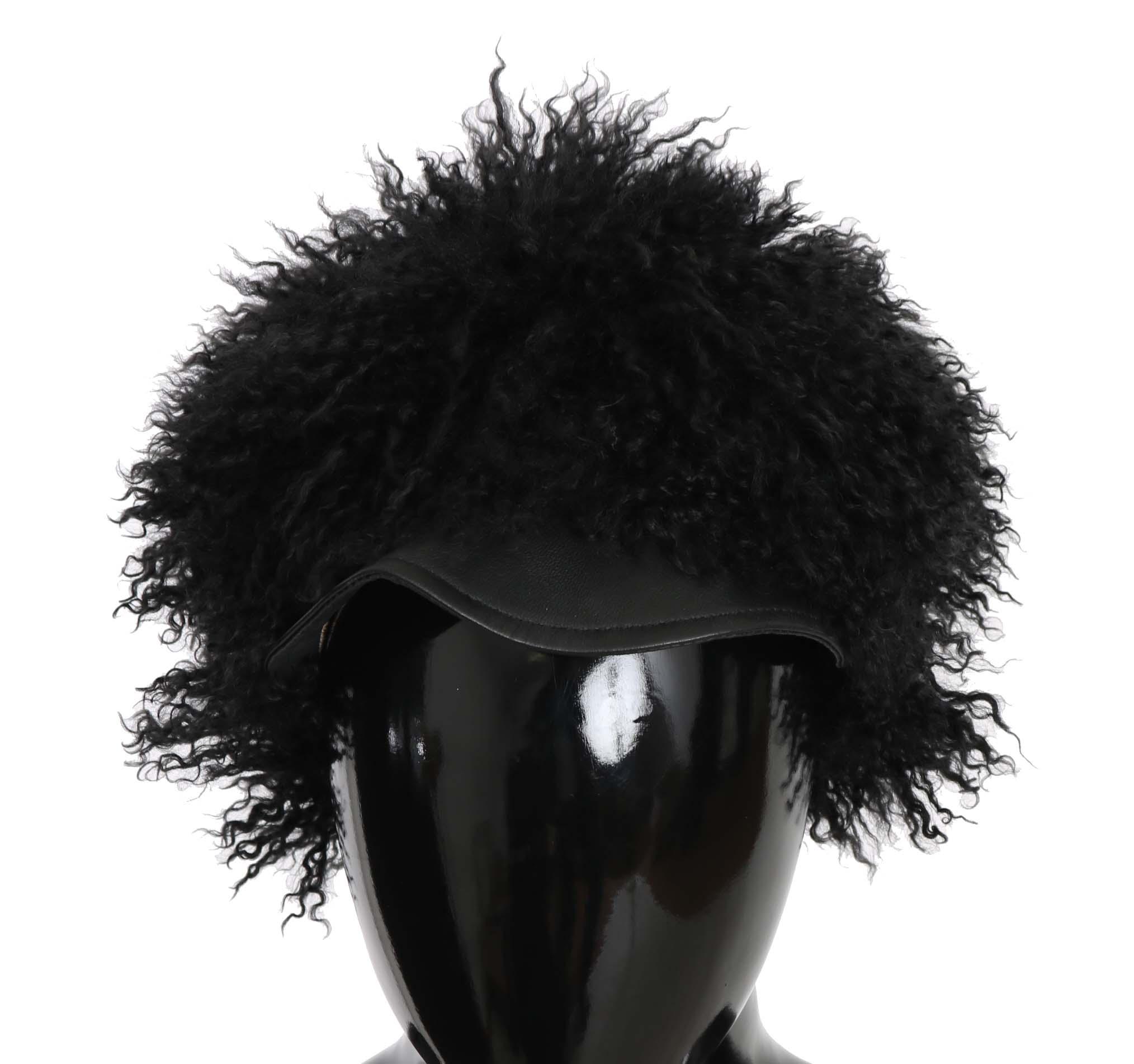 Dolce & Gabbana Women's Tibet Lamb Fur Leather Gatsby Hat Black HAT70216 - 56 cm XS
