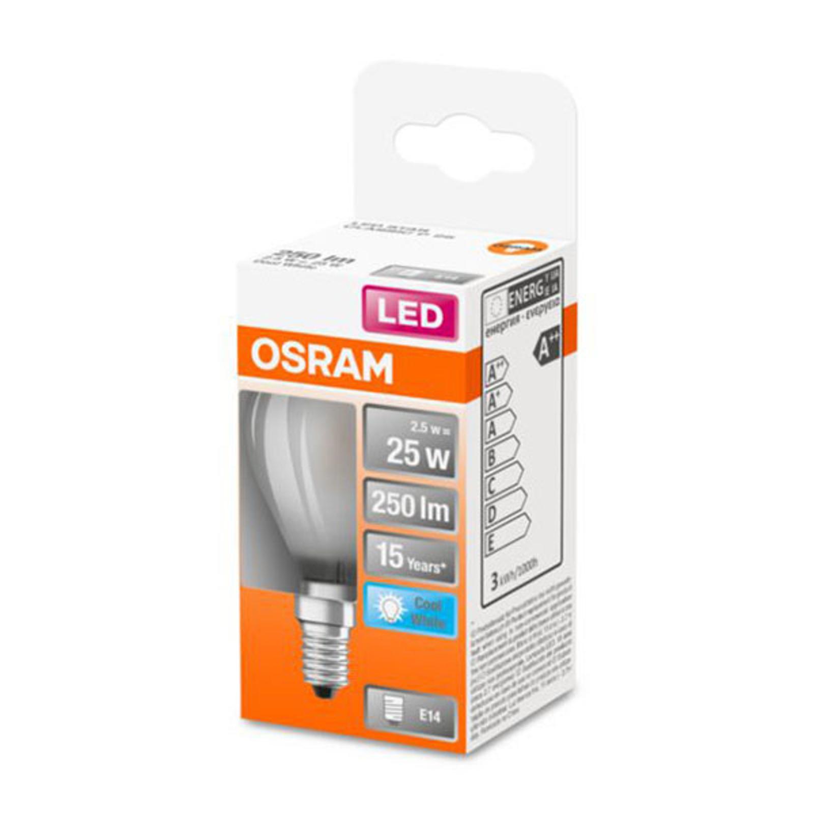OSRAM Classic P -LED-lamppu E14 2,5W 4 000 K matta