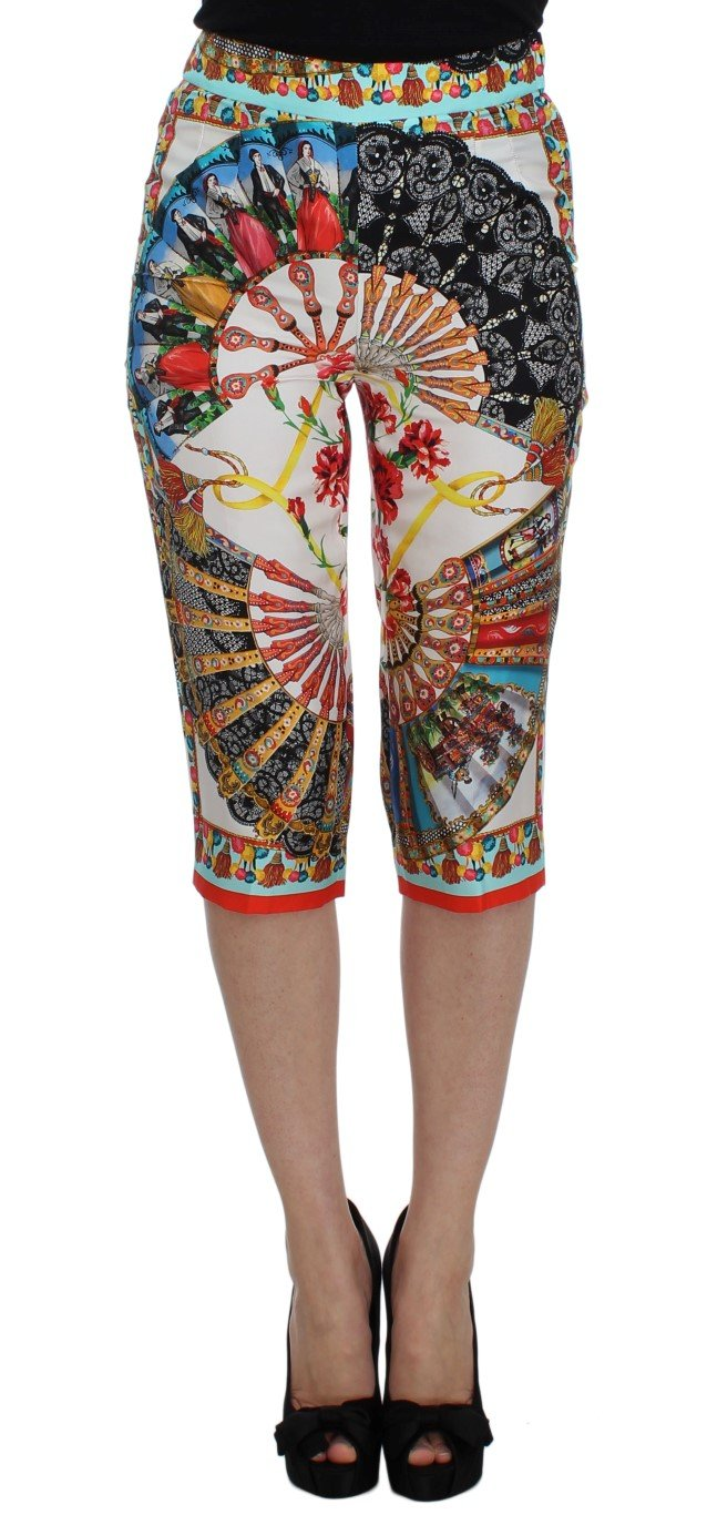 Dolce & Gabbana Women's Majolica Sicily Silk Trouser Multicolor SIG32521 - IT38|XS