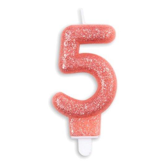 Tårtljus Siffra Glitter Roséguld - Siffra 5
