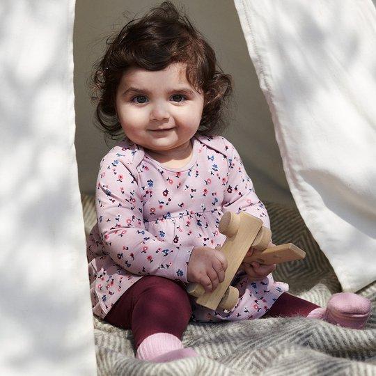 Kjole med blomstertrykk baby lyselilla