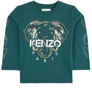 Kenzo Green Branded Elephant Print Long Sleeve Tee 3 år