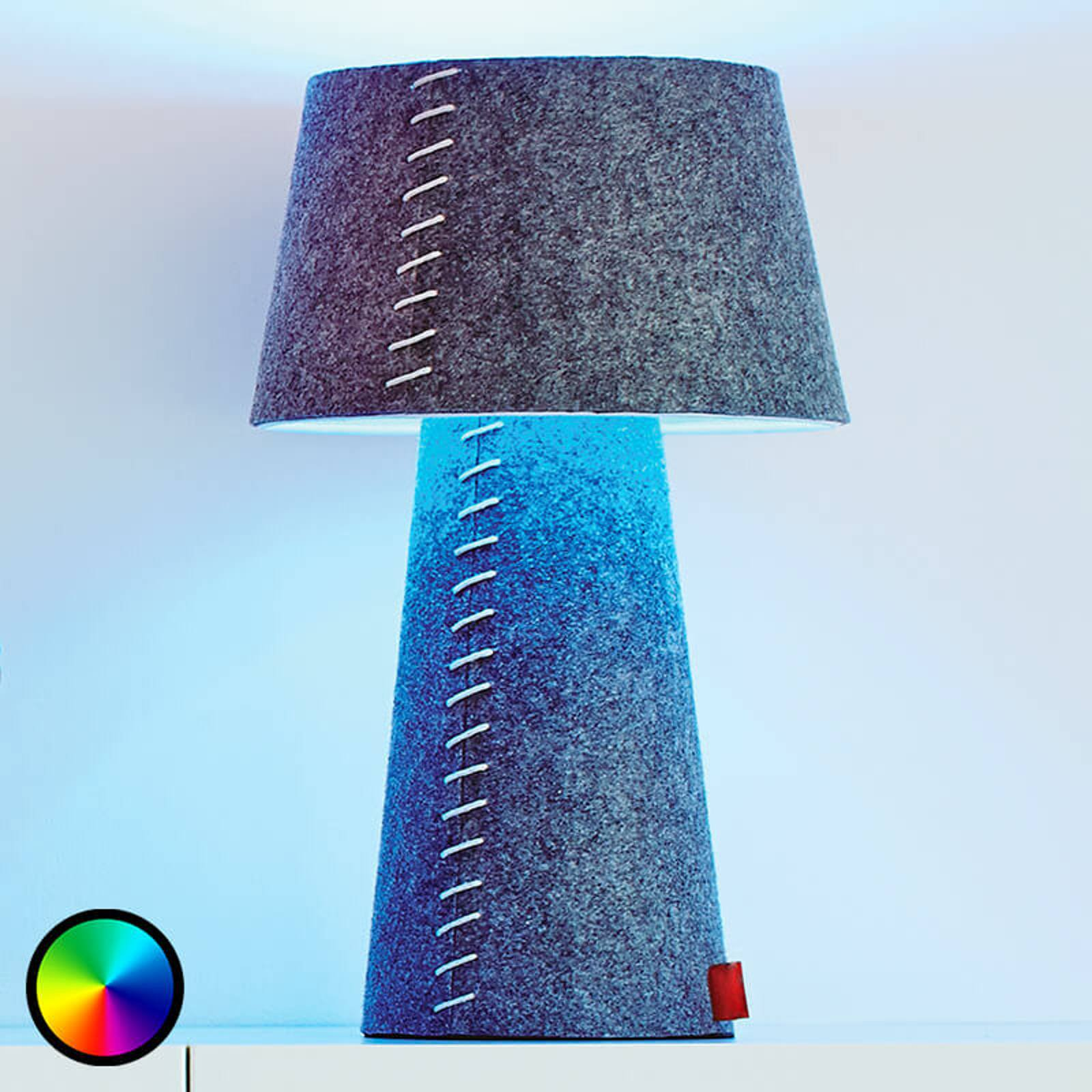 Fargevekslende LED-bordlampe Alice av filt