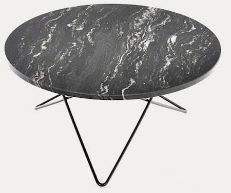 Big O table matbord Black Marquina/black steel