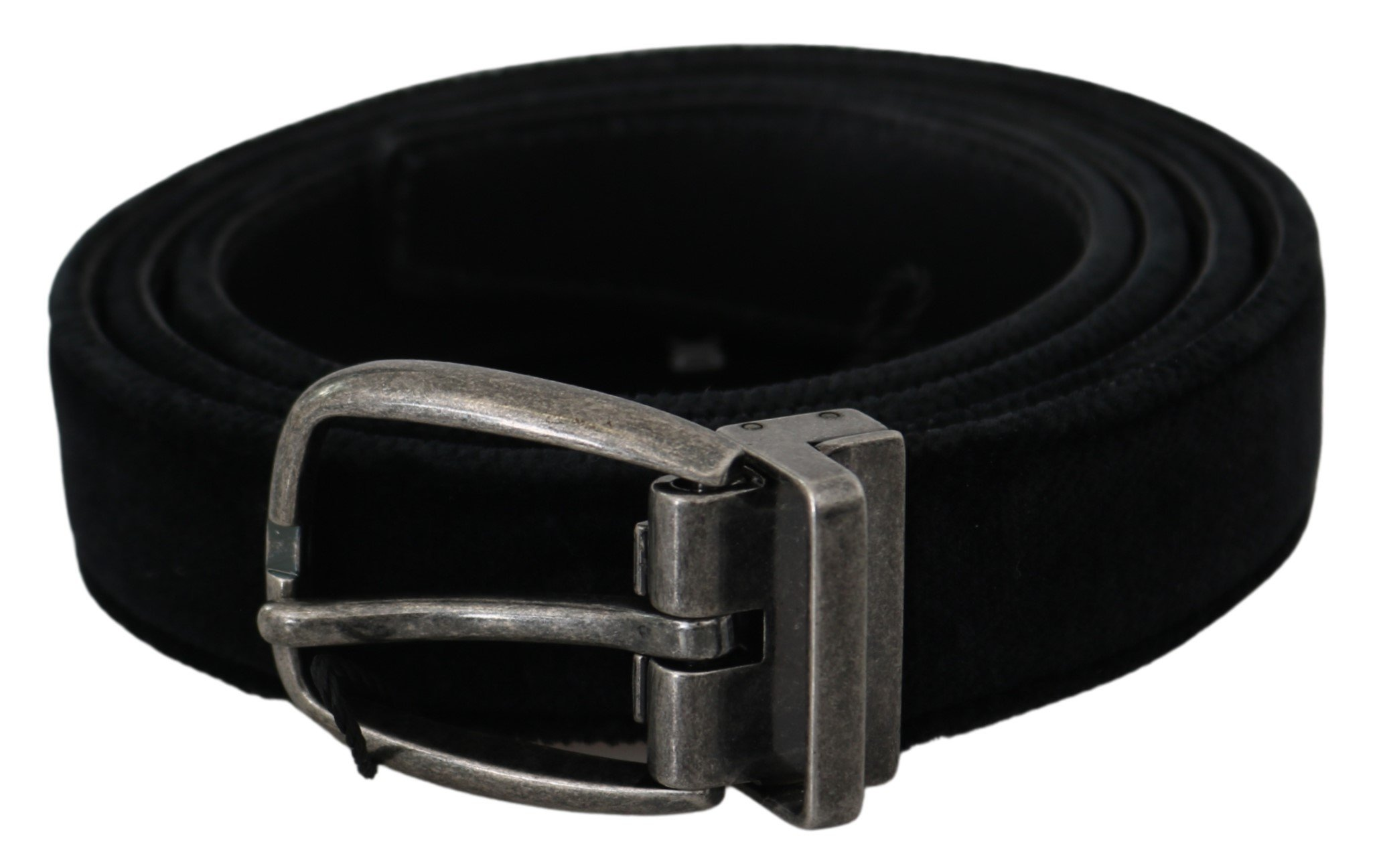 Black Velvet Leather Silver Oval Buckle Belt - 115 cm / 46 Inches