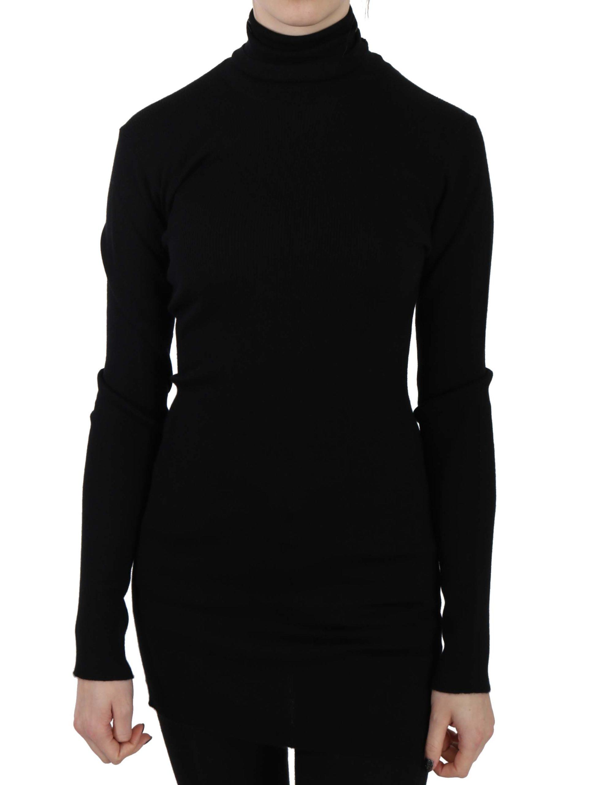 Dolce & Gabbana Women's Cashmere Turtle Neck Pullover Top Sweater Black TSH3253 - IT46|XL
