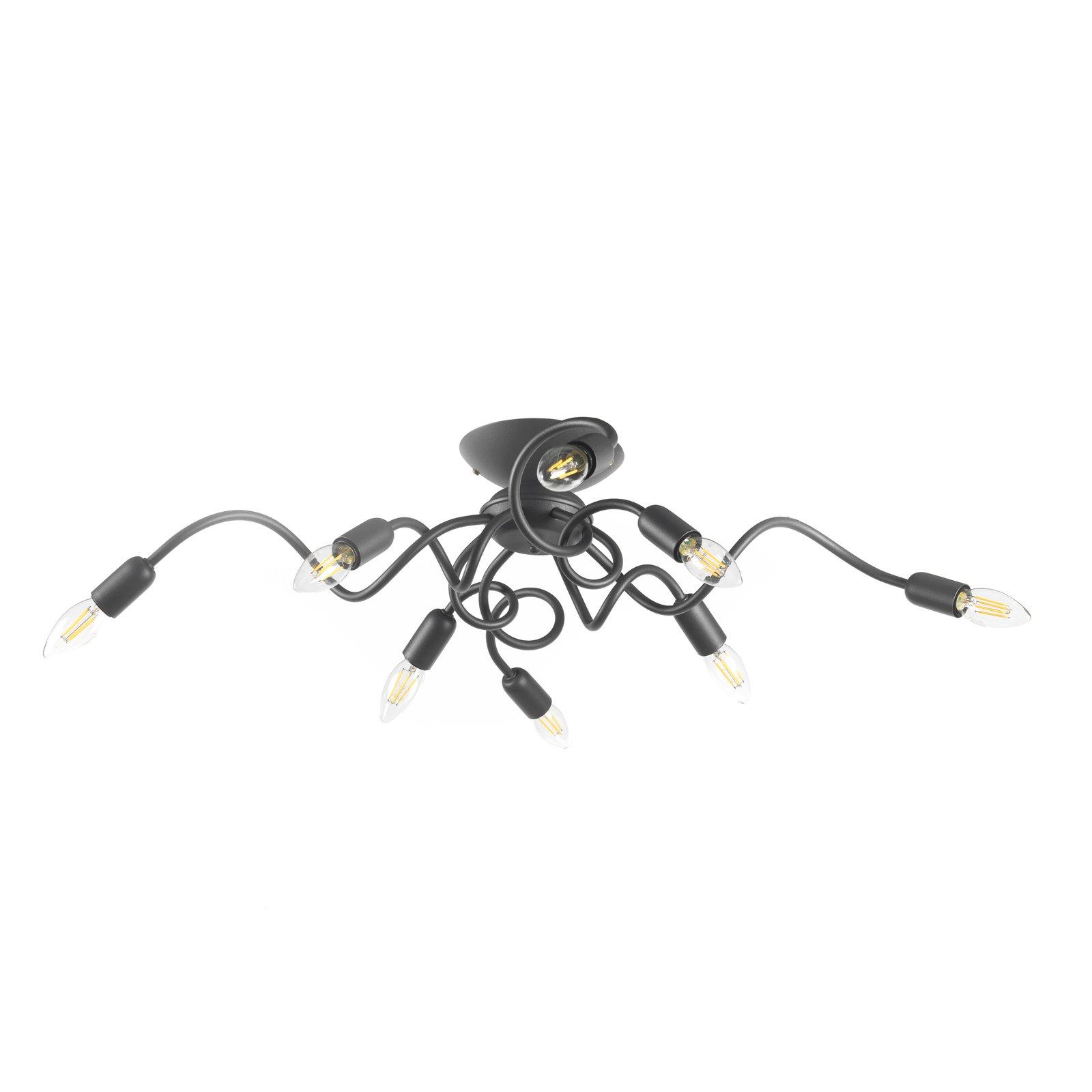 Taklampe Sebastian, åtte lyskilder, mørkegrå