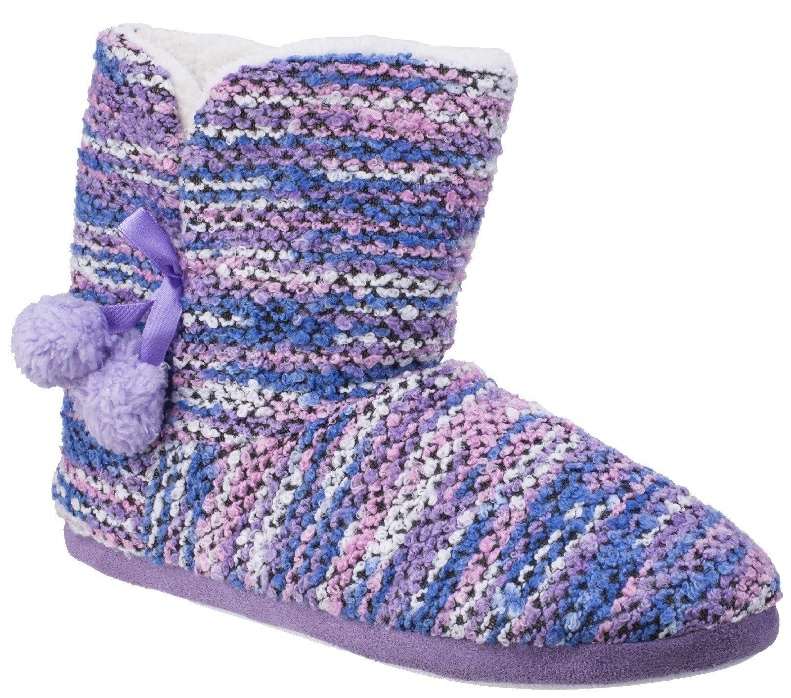 Divaz Women's Vienna Knitted Bootie Slipper Multicolor 25585-42604 - Purple 4