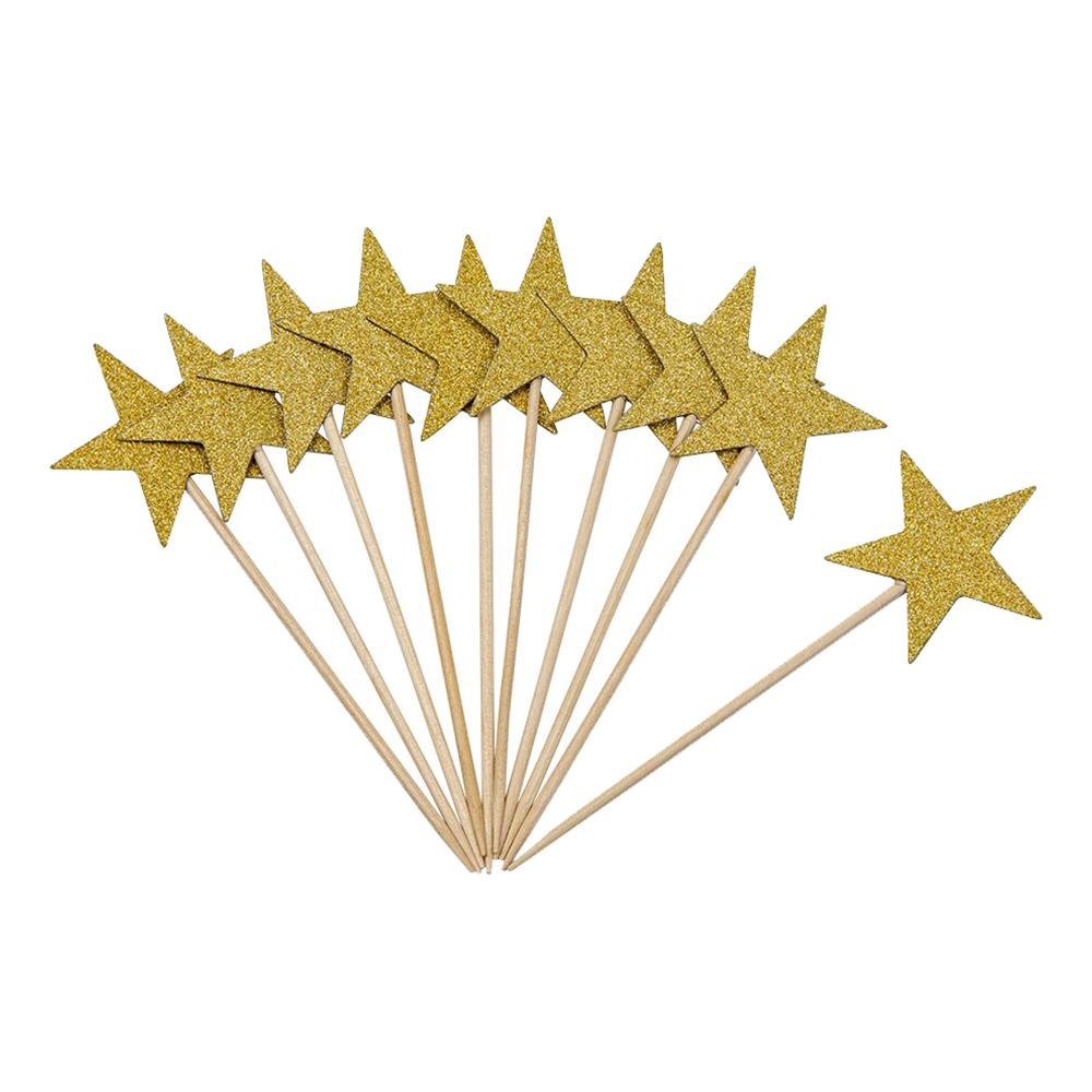 Partypicks med Glittriga Guldstjärnor - 10-pack