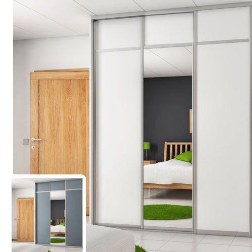 London Skyvedør White/Grey + Mirror 2030 mm 3 dører