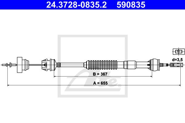Kytkinvaijeri ATE 24.3728-0835.2