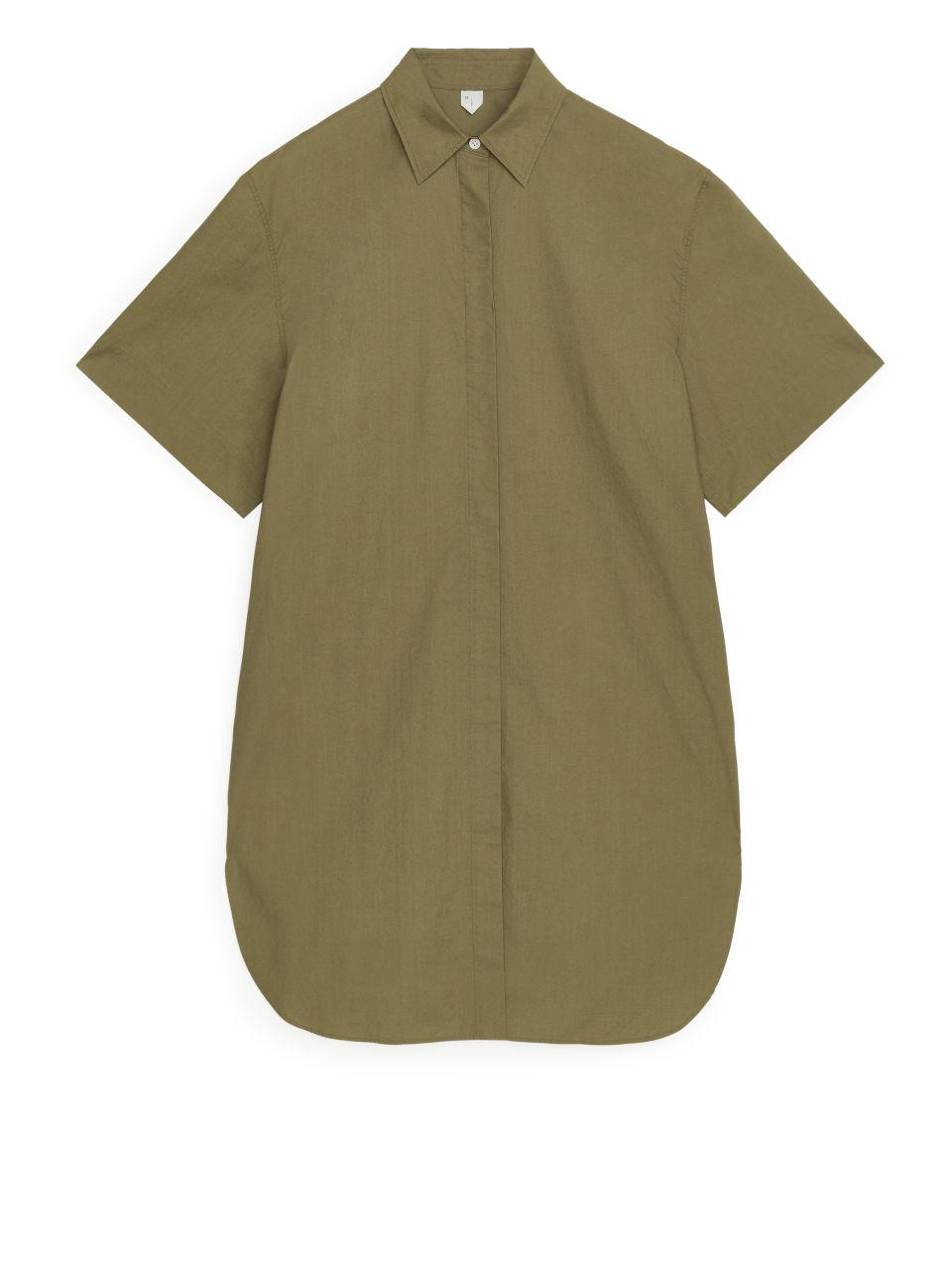 Short-Sleeve Shirt Dress - Beige