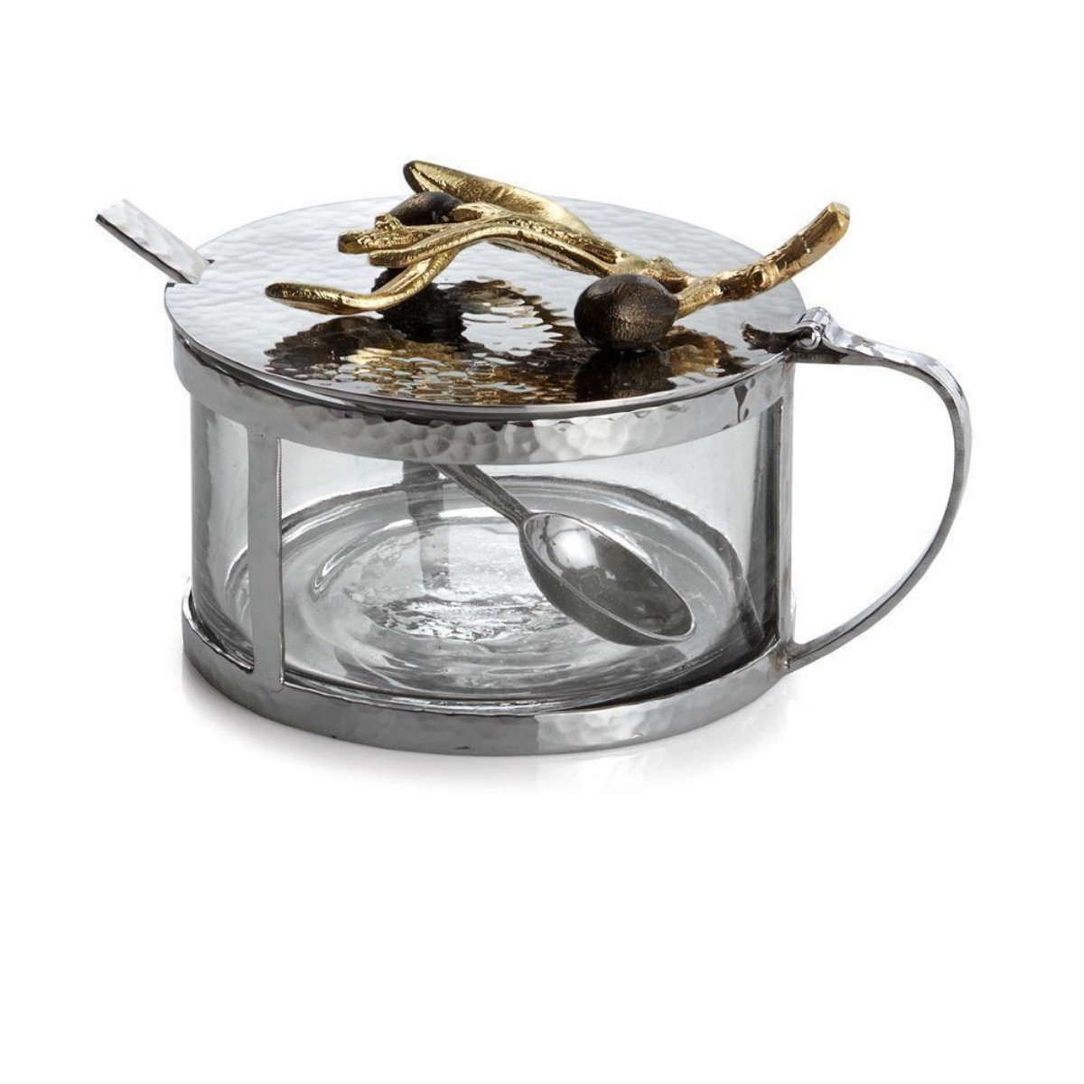 Michael Aram I Olive Branch Gold Condiment Container w/ Spoon