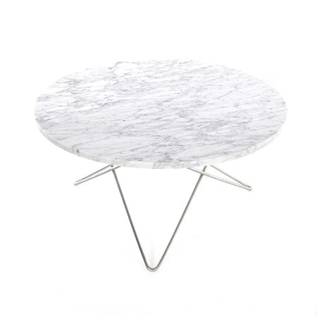O Table Hvit Marmor med Rustfri Stålramme Ø80