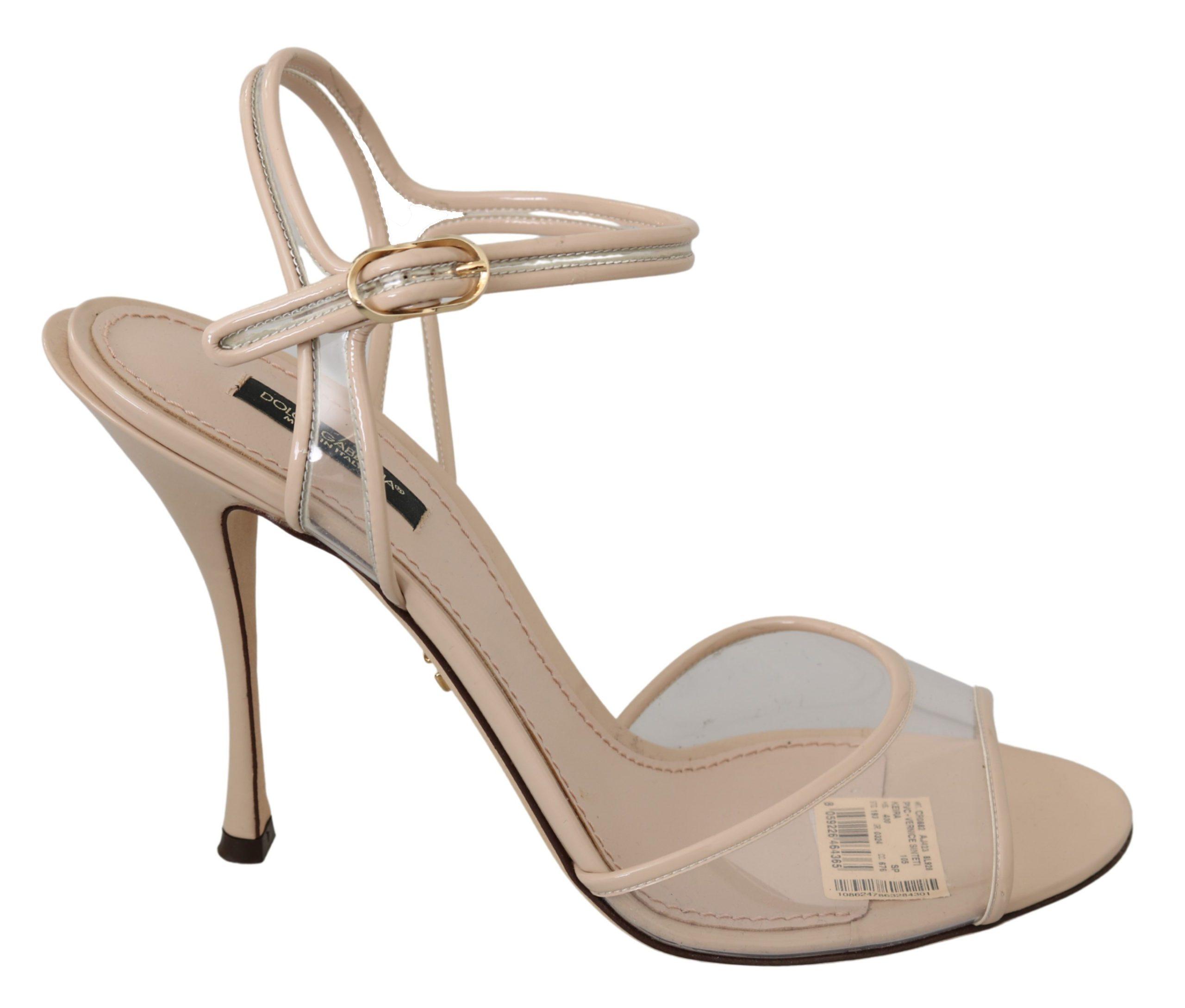 Dolce & Gabbana Women's Nude Leather Ankle Strap Sandal Beige LA6880 - EU40/US9.5
