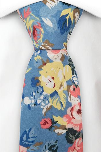Bomull Slips, Gule og rosa blomster på blå bakgrunn, Blå, Blomster